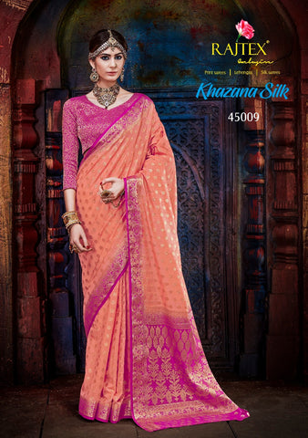 Orange and Pink Border Nylon Silk Saree