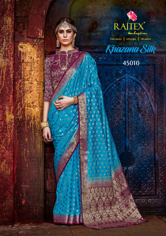 Blue and Purple Border Nylon Silk Saree