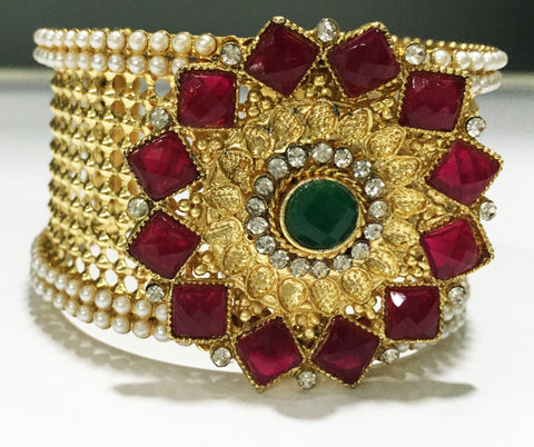 Designer Kada with red kundan flower design - B1 (5)