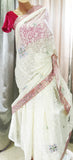 White and Pink Designer Braso saree - NO STOCK