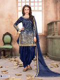SareeShop Designer SareeS Blue Georgette Straight Semi-Stitched Suit
