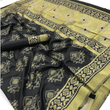 Rajtex-Ikkat-Silk-Black and Gold Designer SIlk Saree