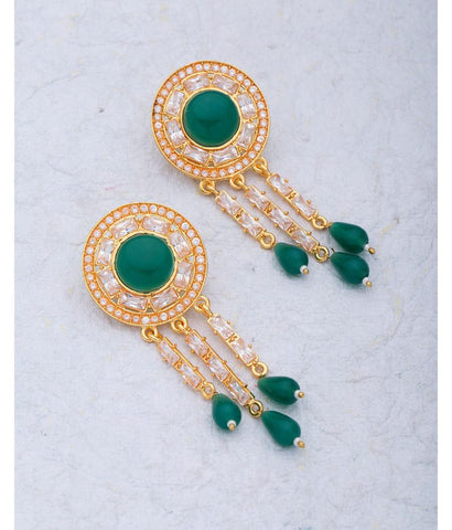 Shiny Gem With Green Stones Embellished Dangler Earrings For Women