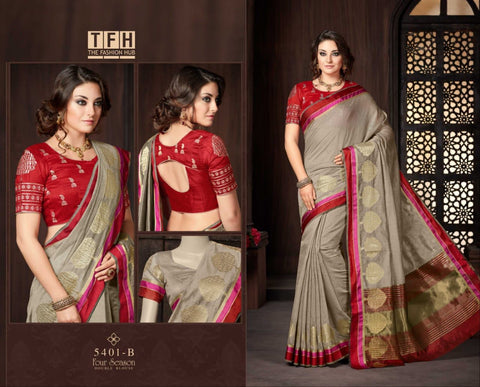 Brown with Maroon Border Silk-Cotton-Traditional-Festive-Saree