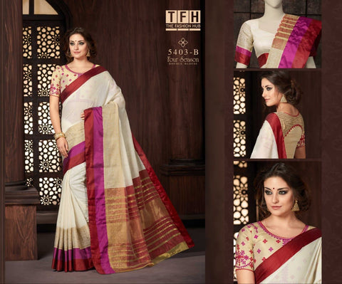 White Pink color Silk-Cotton-Saree with designer blouse