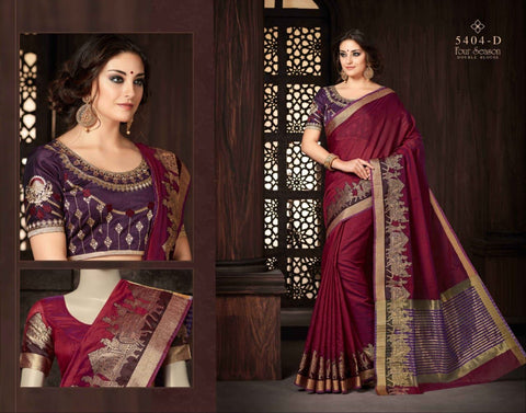 Maroon Silk-Cotton-Saree with designer blouse