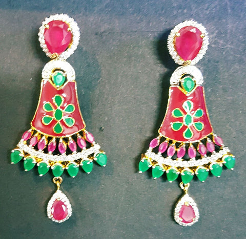 Green and Red Designer Earrings