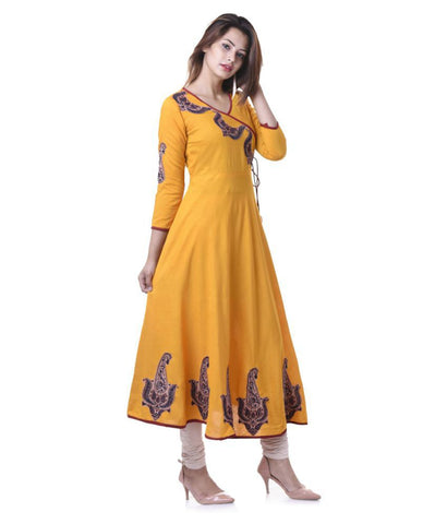 Yash Gallery Yellow Rayon Anarkali Kurti