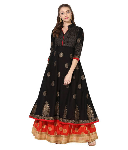 ZOEYAM'S BLACK Cotton Anarkali Kurti