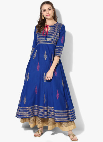 ZOEYAM'S Blue Cotton Anarkali Kurti