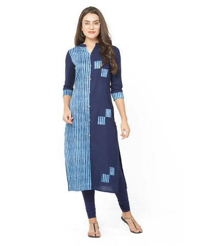 Zofey Blue Cotton Straight Kurti