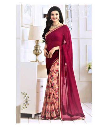 Zofey Bollywood Designer Sarees Red Georgette Saree