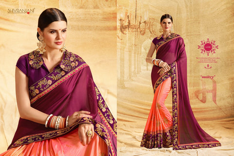 Purple and Orange Designer  Saree