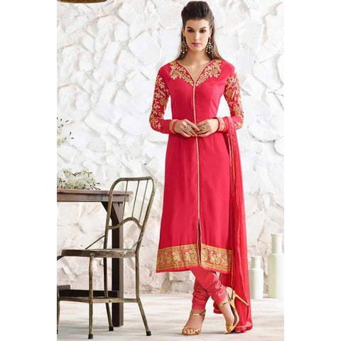 Pinkish Red Georgette Straight Cut Suit With Dupatta - Readymade