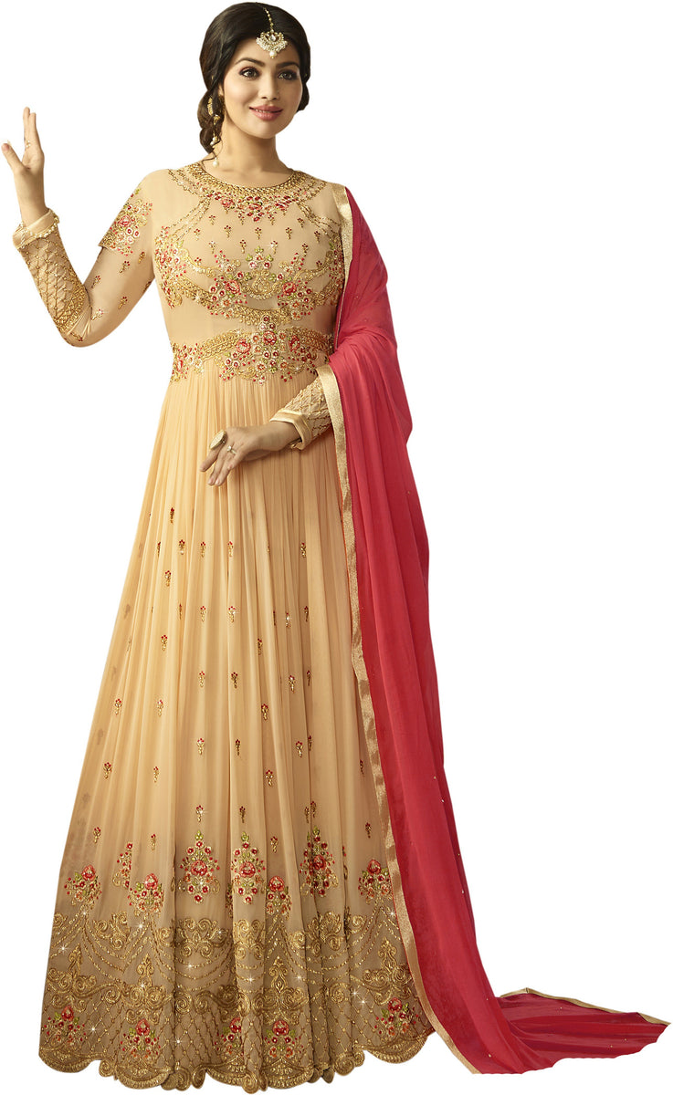d0109d7361 Vaidehi Fashion Georgette Embroidered Semi-stitched Salwar Suit Dupatta  Material