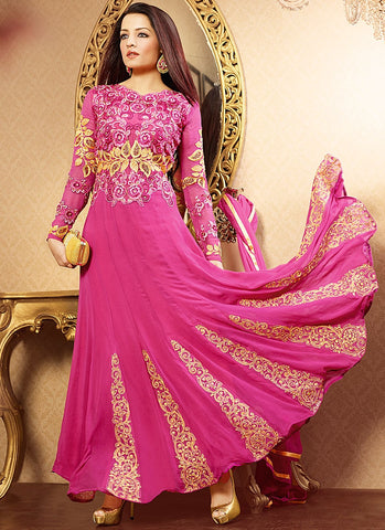 Designer Pink and Golden Suit - B1