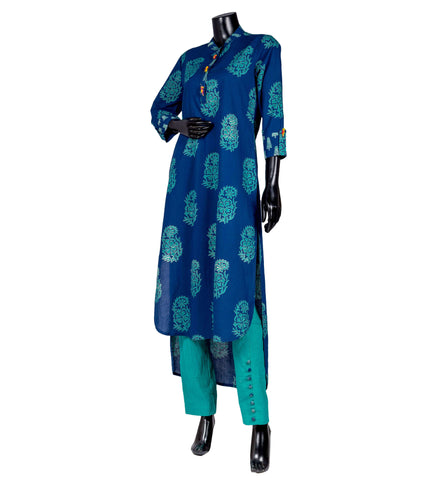 Cotton blue hand block printed Up-down suit set