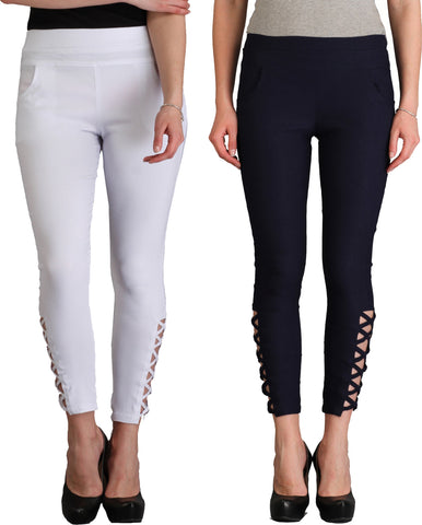 Skyline Trading Legging  (White, Blue, Solid)