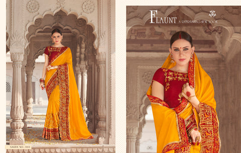 Yellow and  Red Fancy designer Georgette Silk Saree