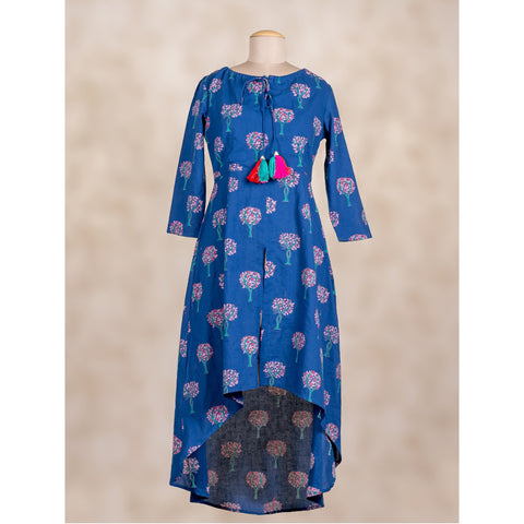 Cotton tasseled Front slit up-down kurta in blue