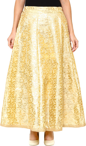 DAMEN MODE Floral Print Women's Flared Gold Skirt