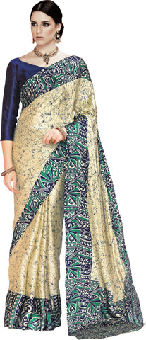 Ratnavati Digital Prints Fashion Crepe Saree  (Beige, Blue)