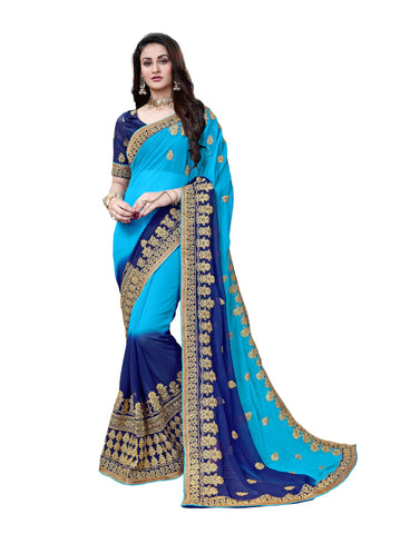Manohari Embroidered Fashion Pure Georgette Saree  (Light Blue)