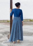 Cotton Indo western gown in indigo blue