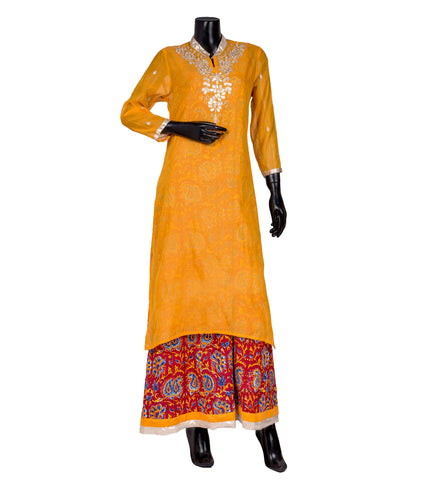 Gota patti embroidered kurta in yellow and red
