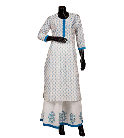 White and blue hand block printed Suit set