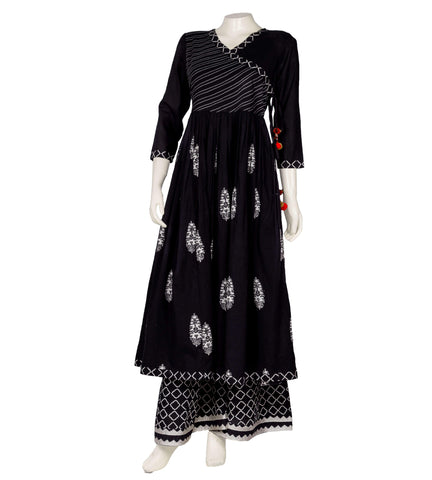 Embroidered Cotton Black Tasseled Angrakha suit set