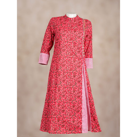 Cotton Show slit long kurta in pink and red