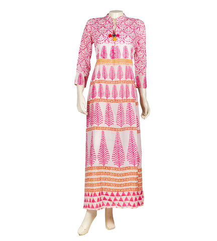 Cotton Multi colored tasseled long kurta