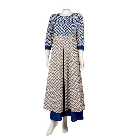 Cotton hand block printed Centre slit Anarkali kurta