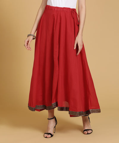 Biba Solid Women Flared Red Skirt