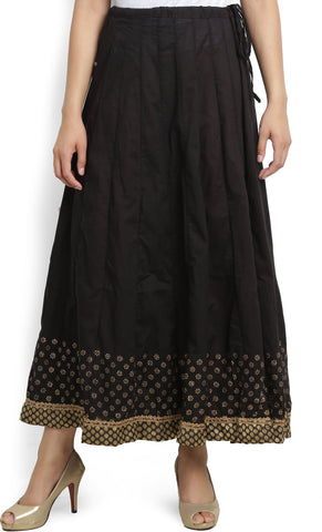 Biba Solid Women Gathered Black Skirt