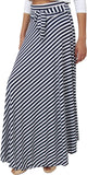 Dolce Divaa Denim Striped Women's Flared Black, White Skirt