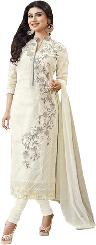 Ratnavati Cotton Embroidered Semi-stitched Salwar Suit Dupatta Material