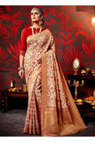 Off White And Red Printed Cotton Silk Saree