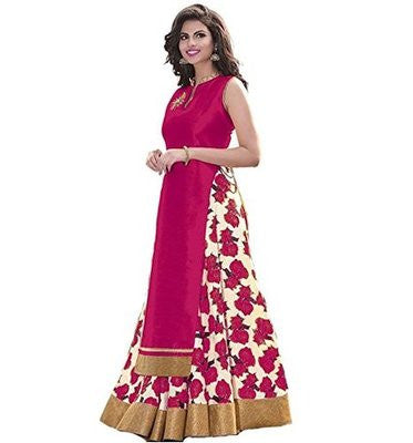 Readymade Pink Floral Print Bhagalpuri Lehenga And Banglori Silk With Top