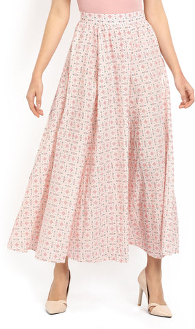 Aurelia Printed Women's Pleated Multicolor Skirt