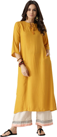 Libas Women's Abstract A-line Kurta  (Yellow)