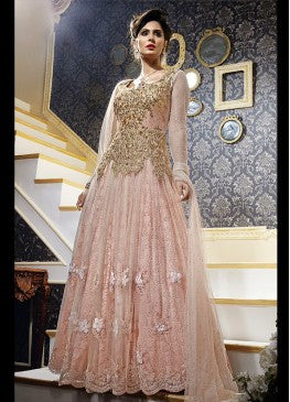 Light Peach and Gold Embroidered Gown - B1