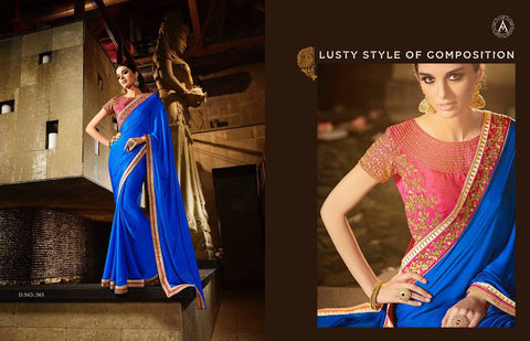 Blue Satin Saree With Raw Silk Embroieded Blouse & Border & Stone Work