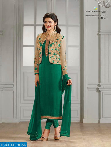 Green Pure Georgette + Pure Silk Crepe Heavy Emb Top And Santon Bottom With Chiffon Dupatta Plus Extra Jacket