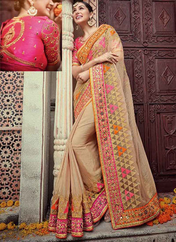Beige Pink Embroidery Resham Work Silk Saree-