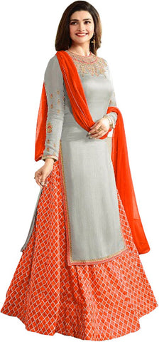 Fashion Basket Crepe Embroidered Semi-stitched Salwar Suit Dupatta Material