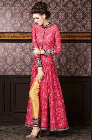 Stunning Red Floral Print Kameez with Golden Straight Pants