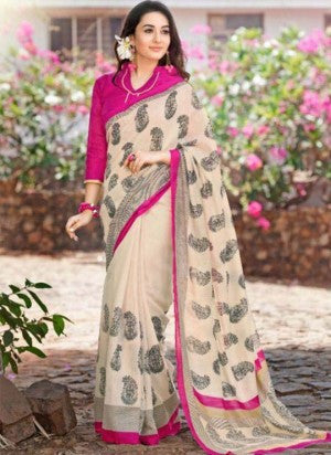 Pink and Cream Cotton Silk Saree