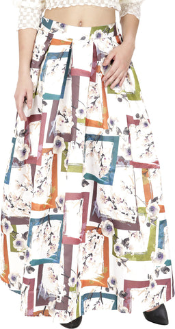 Svt Ada Collections Graphic Print Women's Regular White Skirt